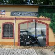 Autotechnik Dähne 4,VW,Skoda,Audi, Seat, Rathenow,Fassadenbeschriftung, künstlerische Objektgestaltung, Malerei, Fassadengestaltung, Giebelmalerei, Fassadenmalerei,