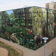4 Stadtwerke Schwedt GmbH, Tierpark Schwedt, Vegetationszonen, künstlerische Objektgestaltung, Malerei, Fassadengestaltung, Giebelmalerei, Fassadenmalerei,
