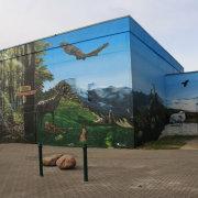 6 Stadtwerke Schwedt GmbH, Tierpark Schwedt, Vegetationszonen, künstlerische Objektgestaltung, Malerei, Fassadengestaltung, Giebelmalerei, Fassadenmalerei,