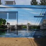 Stadtwerke Brandenburg an der Havel, künstlerische Objektgestaltung, Malerei, Fassadengestaltung, Giebelmalerei, Fassadenmalerei,