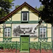 Stadtwerke Schwedt GmbH, Fachwerk Illusionsmalerei, künstlerische Objektgestaltung, Malerei, Fassadengestaltung, Giebelmalerei, Fassadenmalerei,