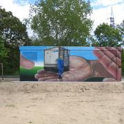 13 Stadtwerke Brandenburg an der Havel, künstlerische Objektgestaltung, Malerei, Fassadengestaltung, Giebelmalerei, Fassadenmalerei,