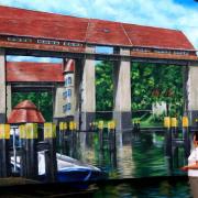12 TWG Teltow, Wohnungsbaugesellschaft,Fassadengestaltung, Giebelmalerei, Fassadenmalerei, Malerische Gestaltung, Illusionsmalerei , Trompe l'oeil, künstlerische Objektgestaltung