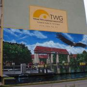13 TWG Teltow, Wohnungsbaugesellschaft,Fassadengestaltung, Giebelmalerei, Fassadenmalerei, Malerische Gestaltung, Illusionsmalerei , Trompe l'oeil, künstlerische Objektgestaltung