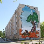 15 Luckenwalde, Wohnungsbaugesellschaft,Fassadengestaltung, Giebelmalerei, Fassadenmalerei, Malerische Gestaltung, Illusionsmalerei , Trompe l'oeil, künstlerische Objektgestaltung