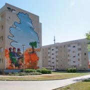 16 Luckenwalde, Wohnungsbaugesellschaft,Fassadengestaltung, Giebelmalerei, Fassadenmalerei, Malerische Gestaltung, Illusionsmalerei , Trompe l'oeil, künstlerische Objektgestaltung