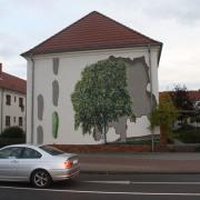 22 EG Stahl Brandenburg, Illusionsmalerei, trompe l'oeil  Malerei,Fassadengestaltung, Giebelmalerei, Fassadenmalerei,