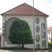 24 EG Stahl Brandenburg, Illusionsmalerei, trompe l'oeil  Malerei,Fassadengestaltung, Giebelmalerei, Fassadenmalerei,