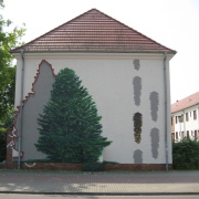 26 EG Stahl Brandenburg, Illusionsmalerei, trompe l'oeil  Malerei,Fassadengestaltung, Giebelmalerei, Fassadenmalerei,