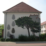 27 EG Stahl Brandenburg, Illusionsmalerei, trompe l'oeil  Malerei,Fassadengestaltung, Giebelmalerei, Fassadenmalerei,