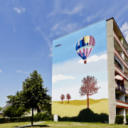 34 WOBAG Schwedt, Wohnungsbaugesellschaft,Fassadengestaltung, Giebelmalerei, Fassadenmalerei, Malerische Gestaltung, Illusionsmalerei , Trompe l'oeil, künstlerische Objektgestaltung
