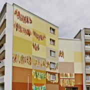 35 Wohnbauten Schwedt, Wohnungsbaugesellschaft,Fassadengestaltung, Giebelmalerei, Fassadenmalerei, Malerische Gestaltung, Illusionsmalerei , Trompe l'oeil, künstlerische Objektgestaltung