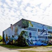 Schwedt Stadtwerke,Aquarium 2, Fassadengestaltung,  Fassadenmalerei, künstlerische Objektgestaltung,  Malerische Gestaltung, , Leinwand, Illusionsmalerei , Trompe l'oeil,  Graffitiauftrag