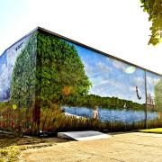 Schwedt Stadtwerke,1 Fassadengestaltung,  Fassadenmalerei, künstlerische Objektgestaltung,  Malerische Gestaltung, , Leinwand, Illusionsmalerei , Trompe l'oeil,  Graffitiauftrag