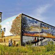 Schwedt Stadtwerke,2 Fassadengestaltung,  Fassadenmalerei, künstlerische Objektgestaltung,  Malerische Gestaltung, , Leinwand, Illusionsmalerei , Trompe l'oeil,  Graffitiauftrag