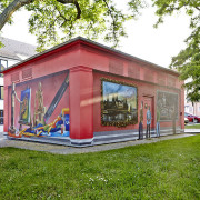 Schwedt Stadtwerke,Kunst und Musikschule 2, Fassadengestaltung,  Fassadenmalerei, künstlerische Objektgestaltung,  Malerische Gestaltung, , Leinwand, Illusionsmalerei , Trompe l'oeil,  Graffitiauftrag