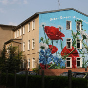 Rathenow Fassadengestaltung,  Fassadenmalerei, künstlerische Objektgestaltung,  Malerische Gestaltung, , Leinwand, Illusionsmalerei , Trompe l'oeil,  Graffitiauftrag