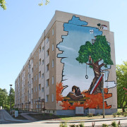 Luckenwalde, Fassadengestaltung,  Fassadenmalerei, künstlerische Objektgestaltung,  Malerische Gestaltung, , Leinwand, Illusionsmalerei , Trompe l'oeil,  Graffitiauftrag