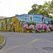 Schwedt Stadtwerke,  Fassadenmalerei, künstlerische Objektgestaltung,  Malerische Gestaltung, , Leinwand, Illusionsmalerei , Trompe l'oeil,  Graffitiauftrag