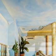 Schwimmbad 2 Fassadengestaltung, Giebelmalerei, Fassadenmalerei, Malerische Gestaltung, Gemälde, Leinwand, Illusionsmalerei , Trompe l'oeil, künstlerische Objektgestaltung, Graffiti