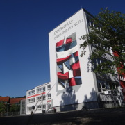 Schule Brandenburg Nord,Fassadengestaltung, Giebelmalerei, Fassadenmalerei, Malerische Gestaltung, Gemälde, Leinwand, Illusionsmalerei , Trompe l'oeil, künstlerische Objektgestaltung, Graffiti