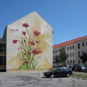 WOBRA Brandenburg Blumen Giebel Fassadenmalerei