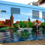 Stadtwerke Brandenburg Havel Fassadenmalerei Graffiti Auftrag Agentur