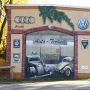 Rathenow,2 Auto Technik Dähne, Fassadengestaltung,  Fassadenmalerei, künstlerische Objektgestaltung,  Malerische Gestaltung, , Leinwand, Illusionsmalerei , Trompe l'oeil,  Graffitiauftrag