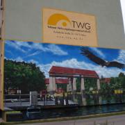 Teltow TWG Wohnungsbaugesellschaft, Fassadengestaltung,  Fassadenmalerei, künstlerische Objektgestaltung,  Malerische Gestaltung, , Leinwand, Illusionsmalerei , Trompe l'oeil,  Graffitiauftrag