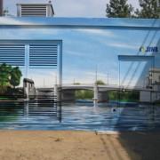 Stadtwerke Brandenburg Havel, Fassadengestaltung,  Fassadenmalerei, künstlerische Objektgestaltung,  Malerische Gestaltung, , Leinwand, Illusionsmalerei , Trompe l'oeil,  Graffitiauftrag