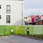 Schwedt WOBAG Wohnungsbaugesellschaft,Fassadengestaltung,  Fassadenmalerei, künstlerische Objektgestaltung,  Malerische Gestaltung, , Leinwand, Illusionsmalerei , Trompe l'oeil,  Graffitiauftrag