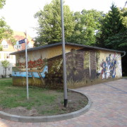 Anklam 2 Fassadengestaltung,  Fassadenmalerei, künstlerische Objektgestaltung,  Malerische Gestaltung, , Leinwand, Illusionsmalerei , Trompe l'oeil,  Graffitiauftrag