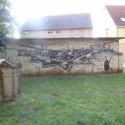 Anklam 4 Fassadengestaltung,  Fassadenmalerei, künstlerische Objektgestaltung,  Malerische Gestaltung, , Leinwand, Illusionsmalerei , Trompe l'oeil,  Graffitiauftrag
