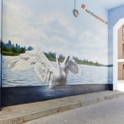Wohnbauprenzlau 3, Prenzlau, Fassadengestaltung,  Fassadenmalerei, künstlerische Objektgestaltung,  Malerische Gestaltung, , Leinwand, Illusionsmalerei , Trompe l'oeil,  Graffitiauftrag