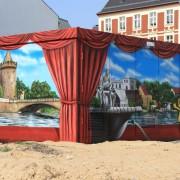 Stadtwerke Brandenburg Havel 7,Fassadengestaltung,  Fassadenmalerei, künstlerische Objektgestaltung,  Malerische Gestaltung, , Leinwand, Illusionsmalerei , Trompe l'oeil,  Graffitiauftrag