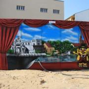 Stadtwerke Brandenburg Havel 8,Fassadengestaltung,  Fassadenmalerei, künstlerische Objektgestaltung,  Malerische Gestaltung, , Leinwand, Illusionsmalerei , Trompe l'oeil,  Graffitiauftrag