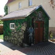 Rathenow 1 Fassadengestaltung,  Fassadenmalerei, künstlerische Objektgestaltung,  Malerische Gestaltung, , Leinwand, Illusionsmalerei , Trompe l'oeil,  Graffitiauftrag