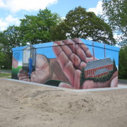 Stadtwerke Brandenburg Havel 9  ,Fassadengestaltung,  Fassadenmalerei, künstlerische Objektgestaltung,  Malerische Gestaltung, , Leinwand, Illusionsmalerei , Trompe l'oeil,  Graffitiauftrag