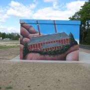 Stadtwerke Brandenburg Havel 10  ,Fassadengestaltung,  Fassadenmalerei, künstlerische Objektgestaltung,  Malerische Gestaltung, , Leinwand, Illusionsmalerei , Trompe l'oeil,  Graffitiauftrag