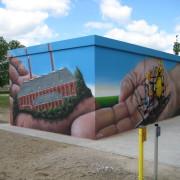 Stadtwerke Brandenburg Havel 11  ,Fassadengestaltung,  Fassadenmalerei, künstlerische Objektgestaltung,  Malerische Gestaltung, , Leinwand, Illusionsmalerei , Trompe l'oeil,  Graffitiauftrag