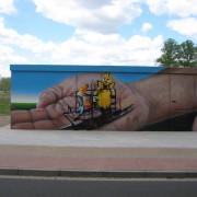Stadtwerke Brandenburg Havel 12  ,Fassadengestaltung,  Fassadenmalerei, künstlerische Objektgestaltung,  Malerische Gestaltung, , Leinwand, Illusionsmalerei , Trompe l'oeil,  Graffitiauftrag