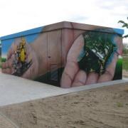 Stadtwerke Brandenburg Havel 13  ,Fassadengestaltung,  Fassadenmalerei, künstlerische Objektgestaltung,  Malerische Gestaltung, , Leinwand, Illusionsmalerei , Trompe l'oeil,  Graffitiauftrag
