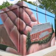 Stadtwerke Brandenburg Havel 15  ,Fassadengestaltung,  Fassadenmalerei, künstlerische Objektgestaltung,  Malerische Gestaltung, , Leinwand, Illusionsmalerei , Trompe l'oeil,  Graffitiauftrag
