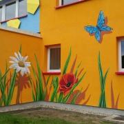 Kindergarten Spielplatz, Illusionsmalerei, künstlerische Objektgestaltung, Fassadenkunst, Malerei, Fassadengestaltung, Giebelmalerei, Fassadenmalerei, Fassadenbild, Fassadenbeschriftung, Graffiti Kunst, Kunst am Bau, 360art,