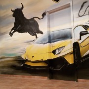 Lamborghini Huracán, Garage, Wappen, Illusionsmalerei, künstlerische Objektgestaltung, Fassadenkunst, Malerei, Innenraumgestaltung, Raumgestaltung, Beschriftung, Wandgestaltung,  Graffiti Kunst, Kunst am Bau, 360art, Marco Brzozowski